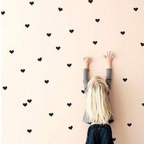 Wanddekokleber Herzen - 60 Stück