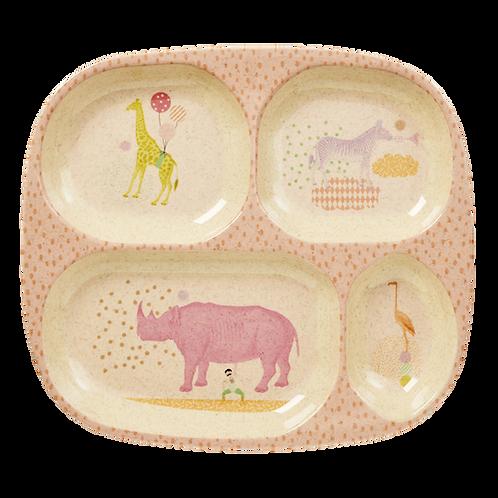 Melamin Kinderteller von RICE mit 4 Unterteilungen - Tiere rosa