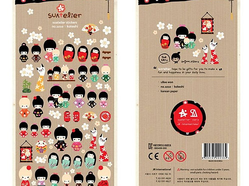 Süsse Aufkleber Japanische Kokeshi Puppen