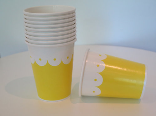 Pappbecher Wellen - gelb
