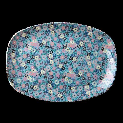 Wunderschöne Platte - Feiner Blumenprint blau