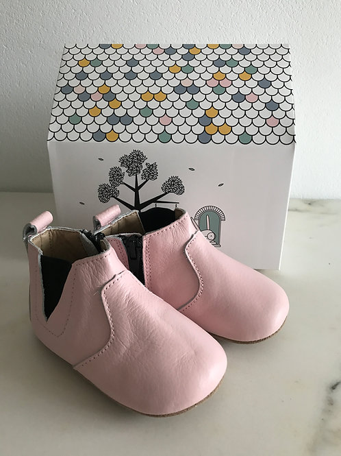 Kleine Booties aus Leder - rosa