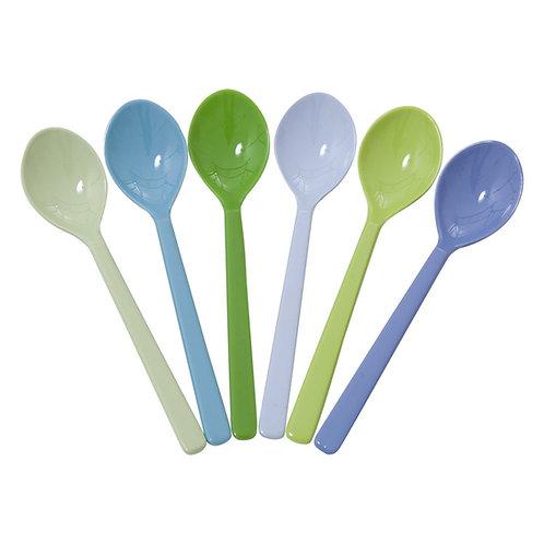 6er Set Löffel von RICE - Blau/Grün