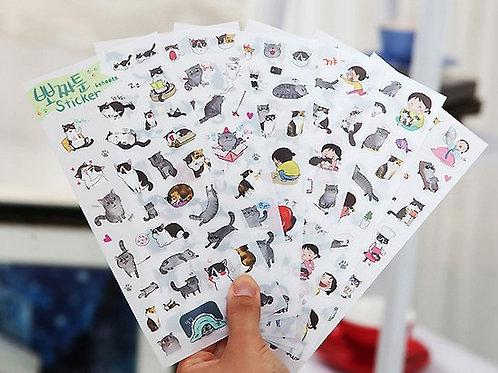 6 Bögen - Katzensticker Kawaii transparent