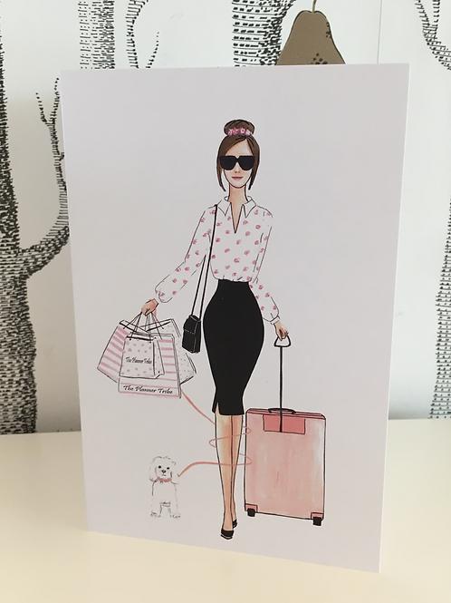 "Edle Leinen-Faltkarte - ""Girlboss 2"""