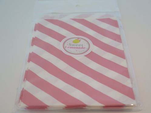 Papiertüten - 12 Stk. - Diagonalstreifen rosa