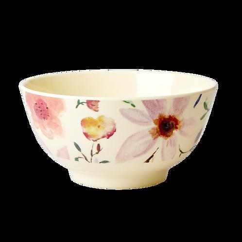 Grosse Frühstücksschale - helle Blumen