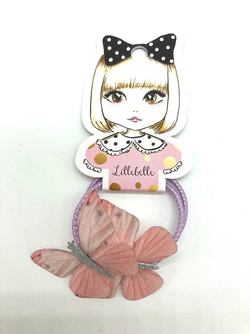 2er Set Haargummis mit rosa Schmetterlingen