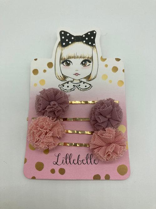 4er Set Haarpins aus Chiffon - rosa/altrosa