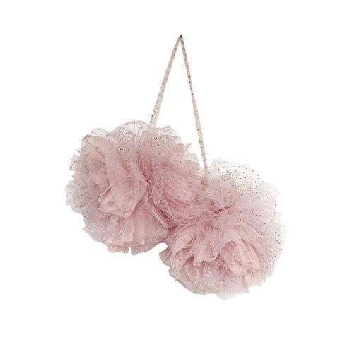 grosser Glitzer Pompom aus Tüll - rosa oder Champanger