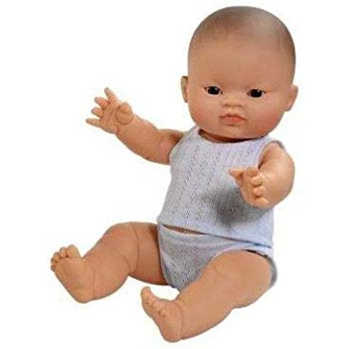 Babypuppe Junge Asien  - 34 cm mit Unterwäsche