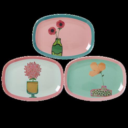 Süsse kleine Platte mit Blumenmotiven - 3 Designs