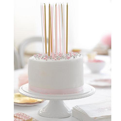 Lange  Kerzen für den Geburtstagskuchen - 16 Stk.