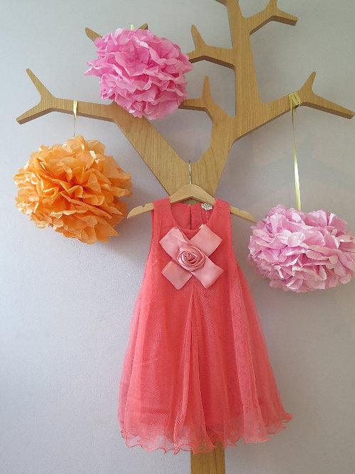 Hängerchenkleid aus Chiffon mit  Blume - corall