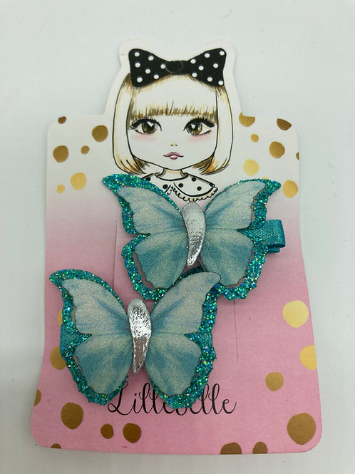 2er Set Haarspängeli - Türkis Schmetterlinge von Lillebelle