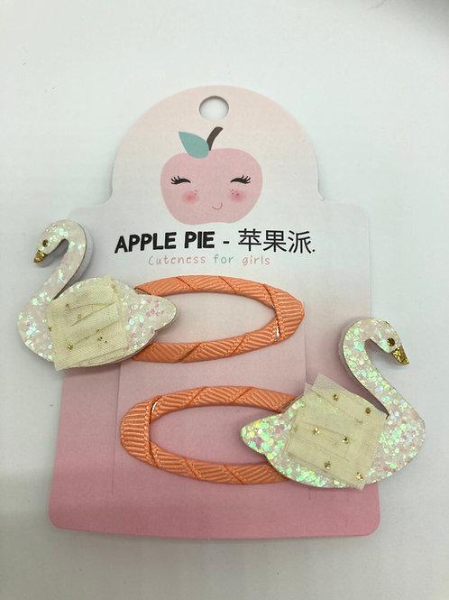 2er Set Haarspängeli von Apple Pie - Schwan in apricot/weiss