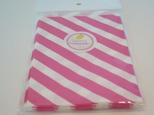 Papiertüten - 12 Stk. - Diagonalstreifen pink