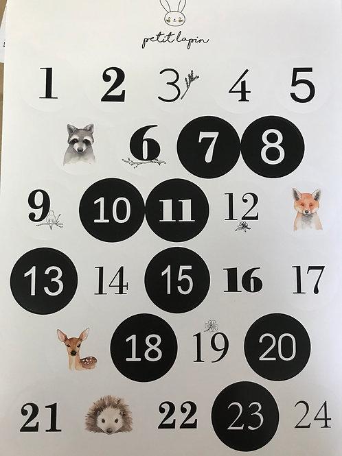 Adventskalender Sticker mit Nummern und Tieren