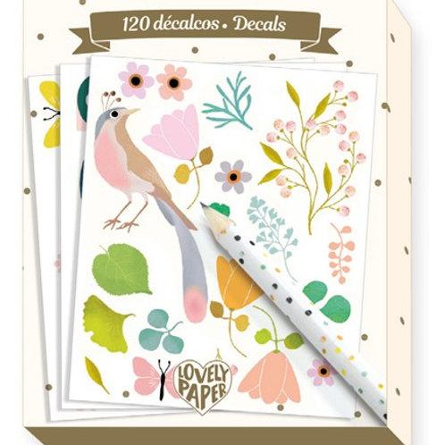 Abriebbilder - Vögel und Blumen