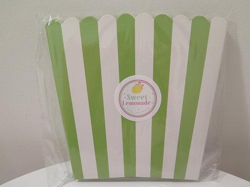 Süsse Popcornbehälter - grün gestreift - 6 Stück