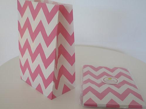Papiertüten mit Boden - 12 Stück - Zickzack rosa