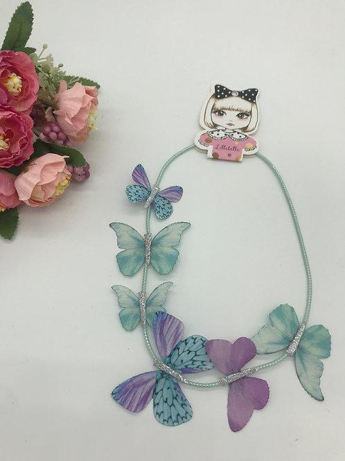 Feines Haarband mit Schmetterlingen - Türkis/lila