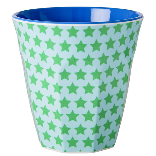 Grosser Becher - Blau-grüne Sterne