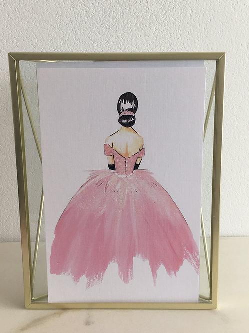 """Künstlerbild/Karte aus Leinen - """"rosa Kleid"""""""