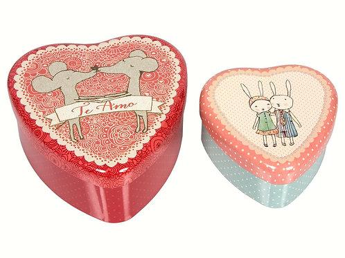 2er Set Herzdosen für kleine Geschenke