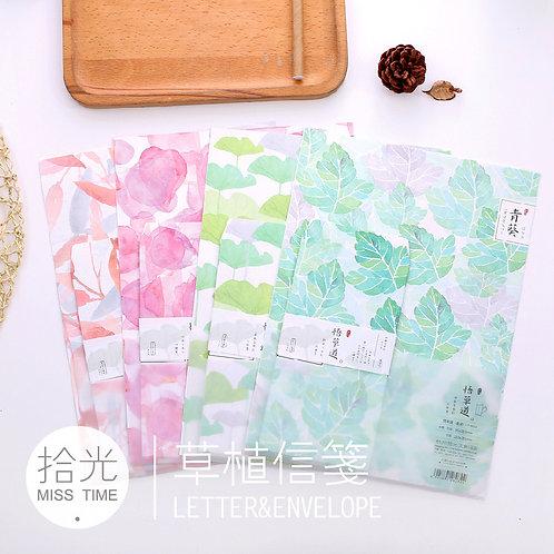 Briefpapierset- 4 Farben - 6 Blätter/ 3 Umschläge
