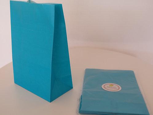 Papiertüten mit Boden -12 Stück -türkis / schwarz
