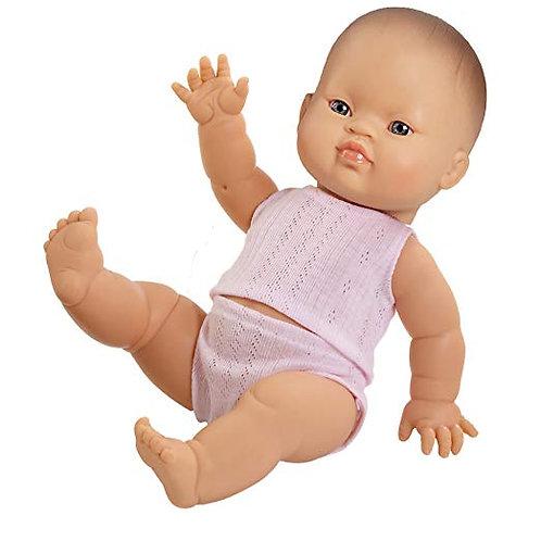 Babypuppe Mädchen Asien  - 34 cm mit Unterwäsche