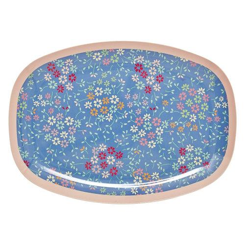 Wunderschöne Zvieri Platte - wilde Blumen blau