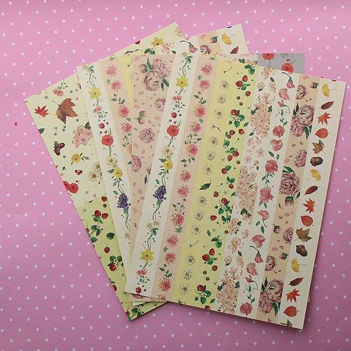 4 grosse Bögen mit Floralem Sticker