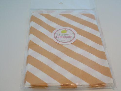 Papiertüten - 12 Stk. - Diagonalstreifen apricot