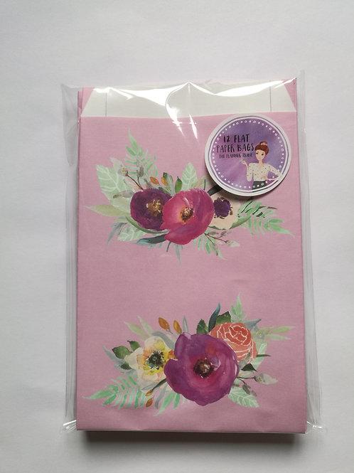 """12er Set Papiertüten """"rosa Blumen"""""""