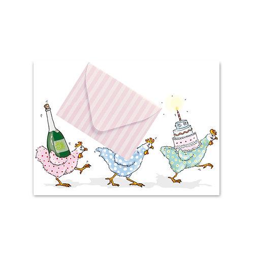 Briefchen-Postkarte Hühner Geburtstag