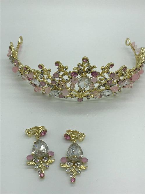 Diadem aus Metall mit Clips Ohrringen - gold rosa