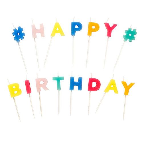 Happy Birthday Kerzen  Geburtstagskuchen