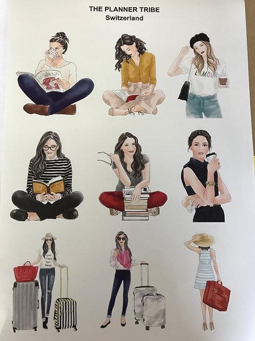 A4 Stickerblatt von THE PLANNER TRIBE - Fashion Ladies