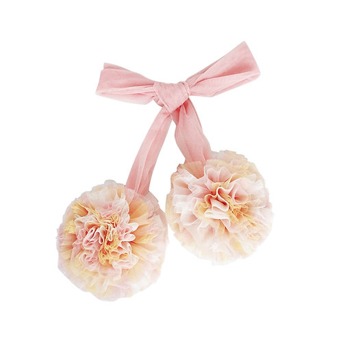 Marmorierter Tüll Pompom - rosa / apricot