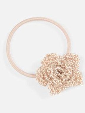 Haargummi mit kleiner Häkelblume - helles rosa