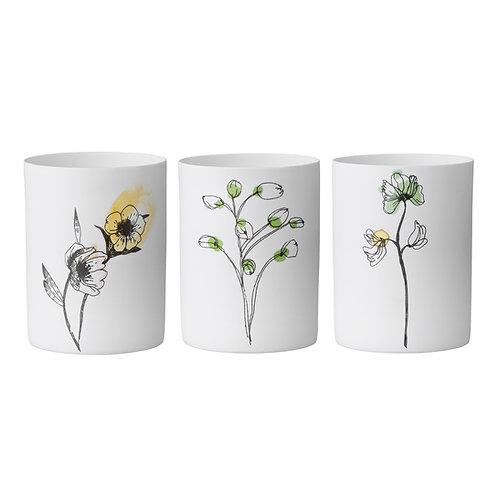 3er Set Teelichter - Blumenmotiv