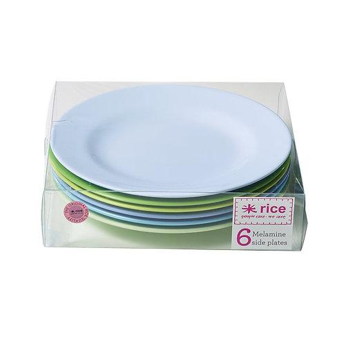 6er Set farbige Teller - Blau/Grün Töne