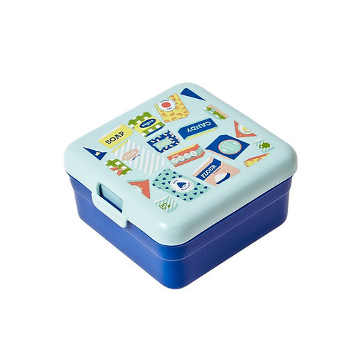 Lunch Box mit Print in blau