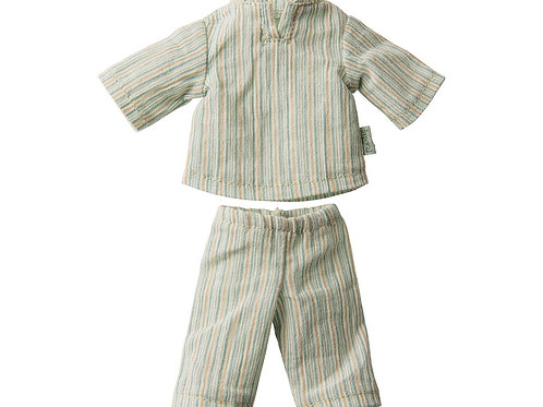 Pyjama hellblau gestreift für die Mini Hase Grösse 1