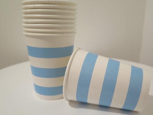 Pappbecher Streifen blau