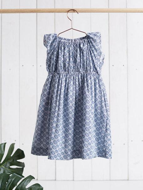 Süsses Mädchenkleid blau mit gerafftem Oberteil