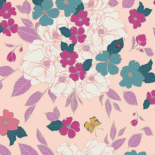 Jersey Stoff - pinke Blumen