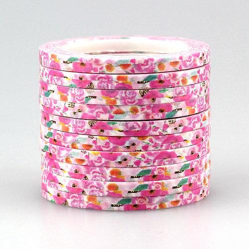 Dünnes Masking Tape -Blumenmuster pink